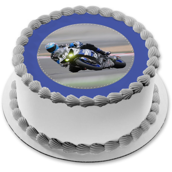 Motorcycle Racer Blue Bike Blue Background Edible Cake Topper Image ABPID06893
