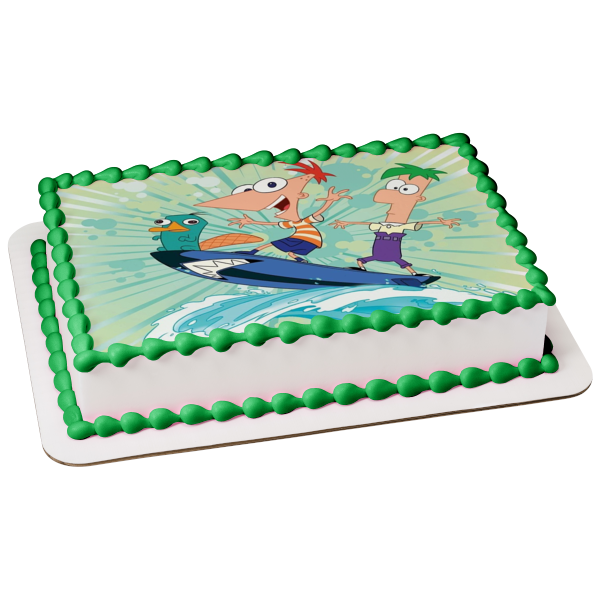 Phineas and Ferb Phineas Flynn Ferb Fletcher Perry the Platypus Edible Cake Topper Image ABPID07325