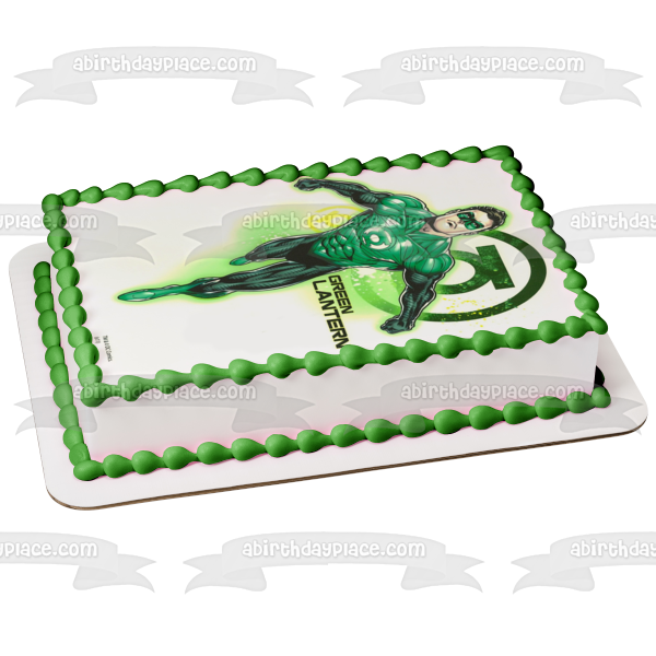 DC Comics Green Lantern Logo Background Edible Cake Topper Image ABPID06910