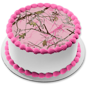 Mossy Oak Trees Leaves Camouflage Pink Background Camo Edible Cake Topper Image ABPID07377