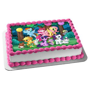 My Little Pony Equestria Girls Rainbow Dash Fluttershy Pinkie Pie Balloons Twilight Sparkle Edible Cake Topper Image ABPID07470