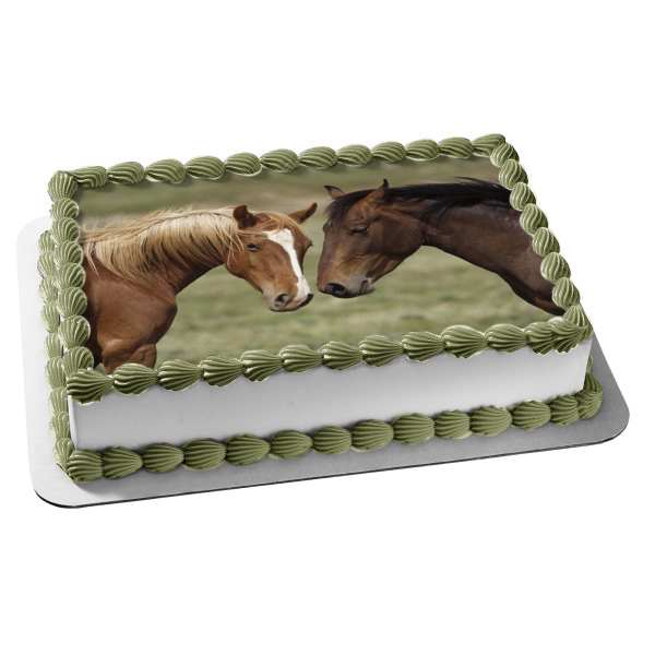 Horses Brown Animals Edible Cake Topper Image ABPID07492