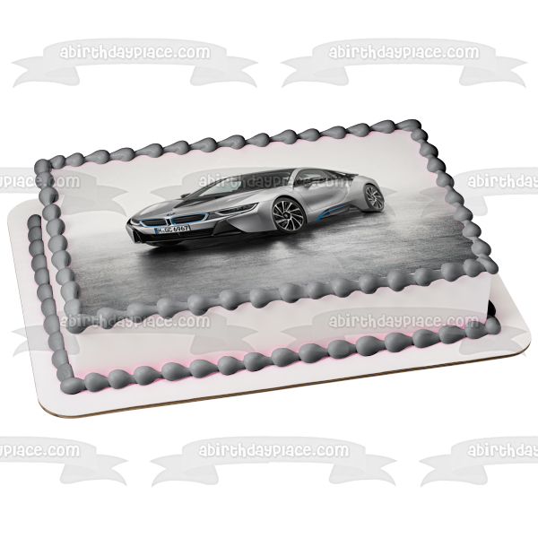 Silver 2015 BMW I8 Sports Car Edible Cake Topper Image ABPID07803