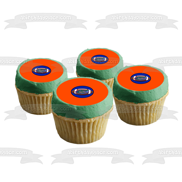Florida Gators Logo NFL Orange Background Edible Cake Topper Image ABPID07895