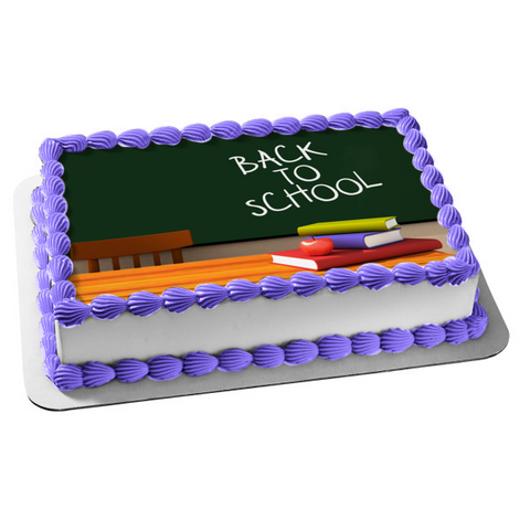 Back to School Chalkboard Books Apple Edible Cake Topper Image ABPID08150