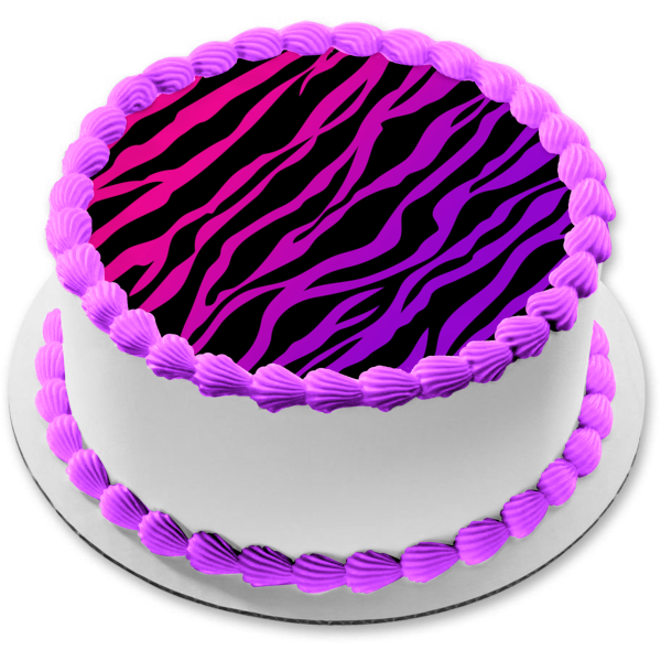 Pink Purple Black Zebra Stripes Print Edible Cake Topper Image ABPID09012