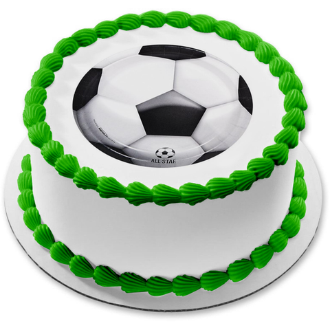 All Star Soccer Ball Edible Cake Topper Image ABPID05593