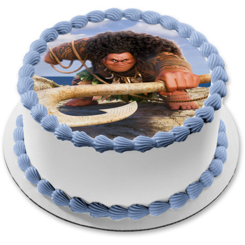 Disney Moana Maui Fish Hook Edible Cake Topper Image ABPID15258