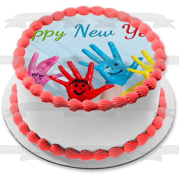 Happy New Year Kids Hands Painted with Smiley Faces Edible Cake Topper Image ABPID53180