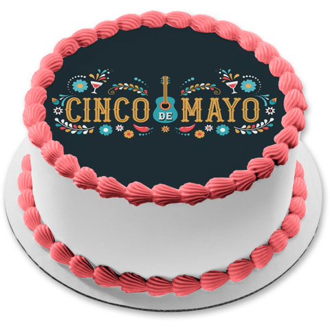 Cinco De Mayo Guitar Wine Glasses Chili Peppers Flowers Edible Cake Topper Image ABPID53803