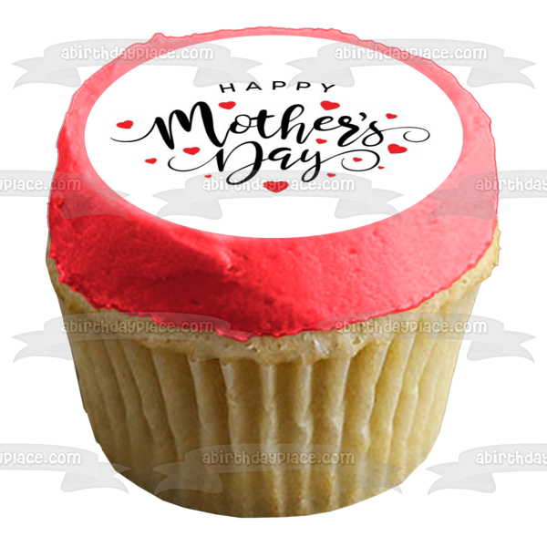 Happy Mother's Day Red Hearts Edible Cake Topper Image ABPID51267