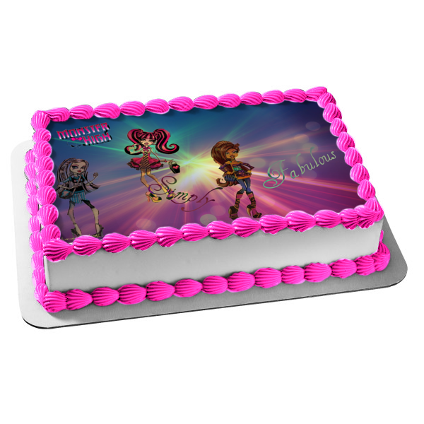 Monster High Frankie Stein Draculaura Clawdeen Wolf Simply Fabulous Edible Cake Topper Image ABPID09257