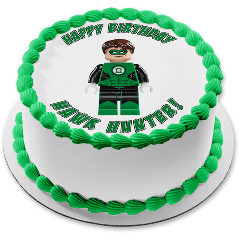 DC Comics LEGO Green Lantern Superhero Edible Cake Topper Image ABPID12261
