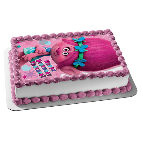 Trolls It's Your Birthday Sugar Cookieloaf Edible Cake Topper Image ABPID05673