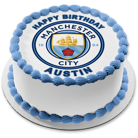 Manchester City Football Club Logo Soccer Edible Cake Topper Image ABPID21850