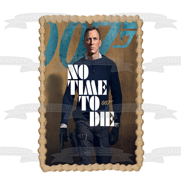 James Bond 007 No Time to Die Movie Poster Edible Cake Topper Image ABPID50886