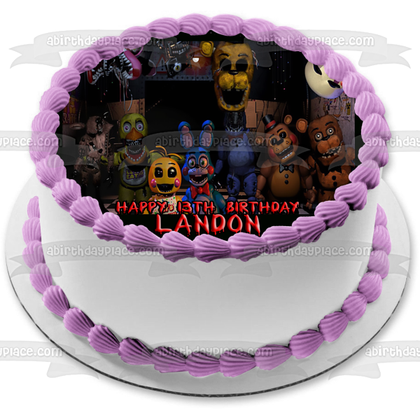 Personalized Happy Birthday Five Nights at Freddys Bonnie Chica Freddy Fazbear Edible Cake Topper Image ABPID51010