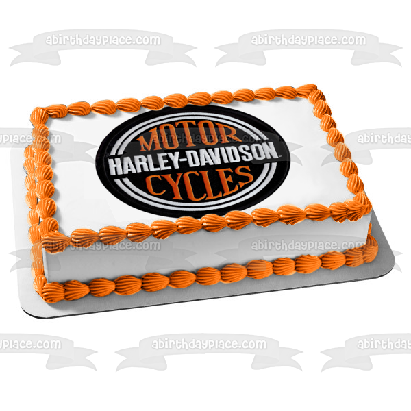 Harley-Davidson Motor Cycles Logo Patch Edible Cake Topper Image ABPID10952