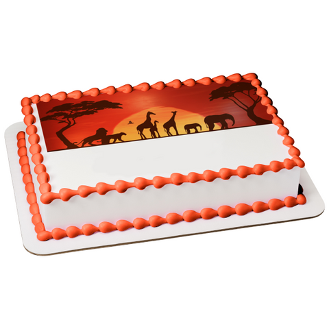 Disney The Lion King Animal Silhouettes Sunset Background Edible Cake Topper Image ABPID11686