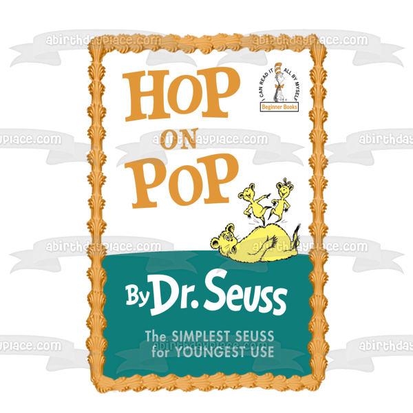 Dr. Seuss Hop on Pop Book Cover Edible Cake Topper Image ABPID11878