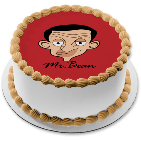 Mr. Bean Cartoon Face Red Background Edible Cake Topper Image ABPID12975
