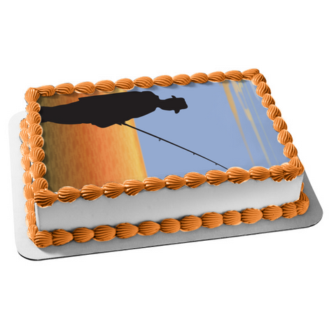 Fishing Man Silhouette Fishing Pole Lake Blue Sky Edible Cake Topper Image ABPID13280