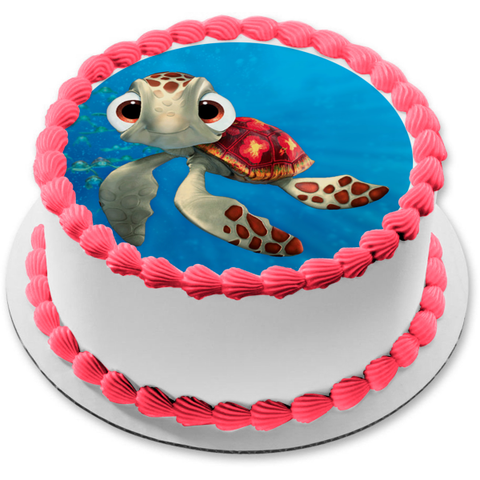 Disney Finding Nemo Squirt Turtle Ocean Background Edible Cake Topper Image ABPID15066