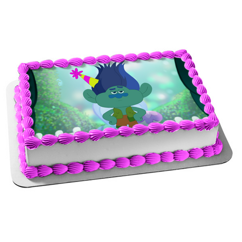 Trolls Beat Goes on Branch Party Hat Edible Cake Topper Image ABPID15534