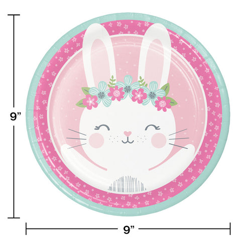 Pink Birthday Bunny Party Plates
