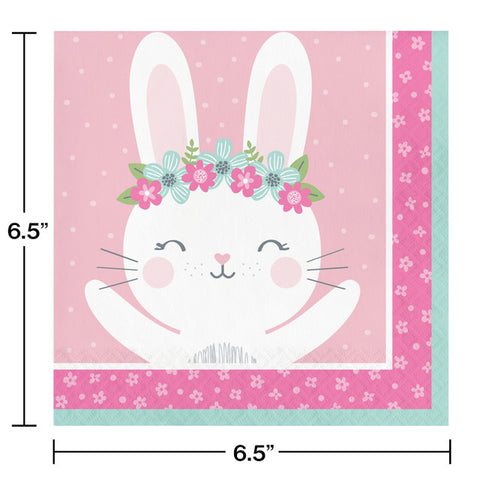 Pink Birthday Bunny Luncheon Napkins
