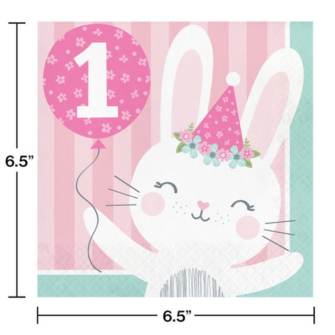 Pink 1st Birthday Bunny Luncheon Napkins