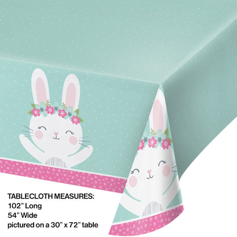 Pink Birthday Bunny Table Covering