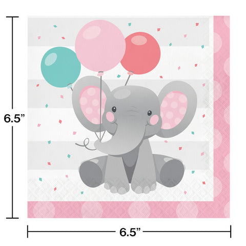 Pink Enchanted Elephant Luncheon Napkins