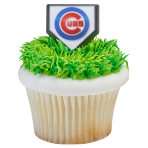 MLB® Home Plate Team Logo Cupcake Rings - Chicago Cubs (12 pieces)