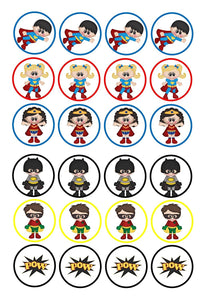 Superman Supergirl Wonder Woman Batman Robin Pow Edible Cupcake Topper Images Edible Cupcake Topper Images ABPID00074