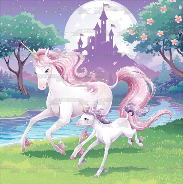 Unicorns Mom and Baby Trees Castle Moonlight Edible Cake Topper Image ABPID00208