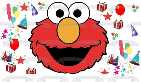 Sesame Street Elmo Face Presents Stars Party Hats Balloons Edible Cake Topper Image ABPID00323