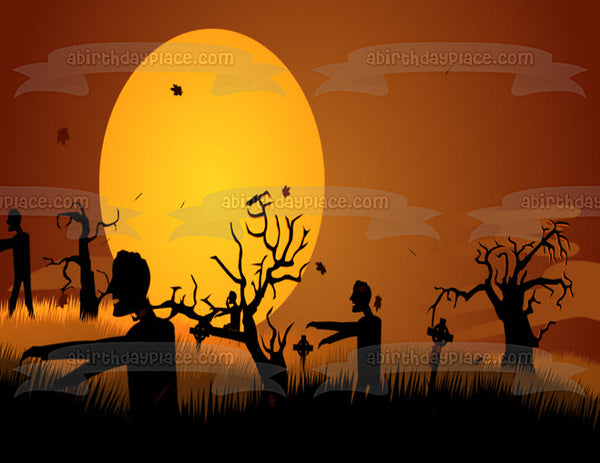 Zombie Graveyard Silhouette Happy Halloween Edible Cake Topper Image ABPID00579