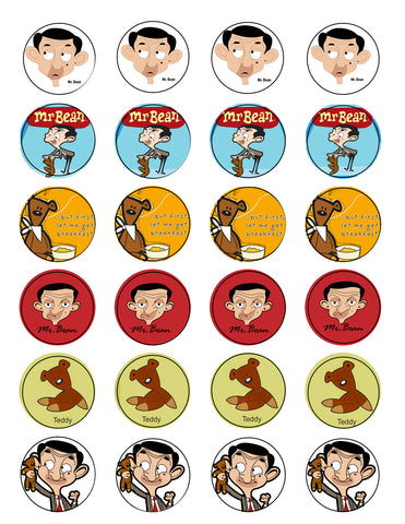 Mr Bean Teddy Bear but First Let Me Get Breakfast Edible Cupcake Topper Images ABPID00587