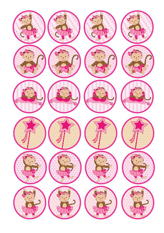 Monkey Ballet Ballerina Tutu Pink Bow Edible Cupcake Topper Images ABPID00652