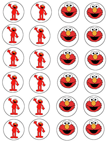 Elmo Sesame Street Smiling Waving Edible Cupcake Topper Images ABPID01699