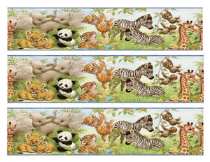 Baby Jungle Animals Panda Bear Zebra Giraffe Monkeys Tigers Elephants Edible Cake Topper Image Strips ABPID01712
