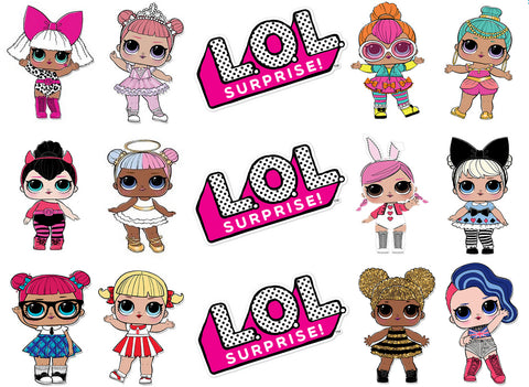 LOL Surprise Doll Strips with Queen Bee and Cheeky Babe Edible Cake Topper Image Strips ABPID01872