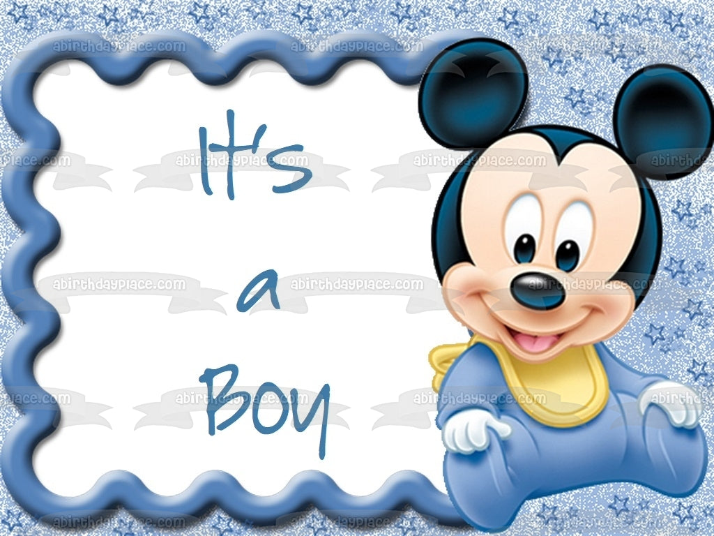 Disney Baby Mickey Mouse Its A Boy Edible Cake Topper Image Abpid01900