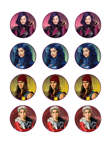 Descendants 2 Mal Carlos Evie Jay Disney Channel Edible Cupcake Topper Images ABPID03190