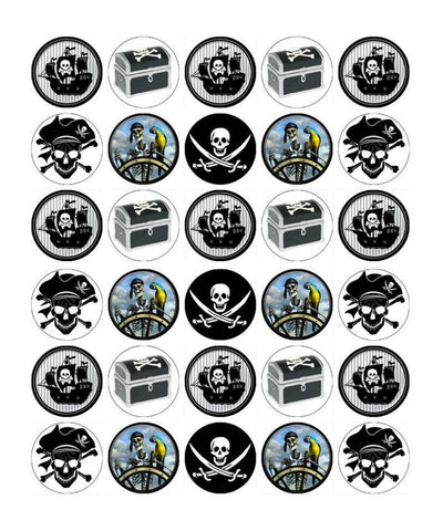 Pirates Chest Boxes Swords Ships Edible Cupcake Toppers ABPID03299
