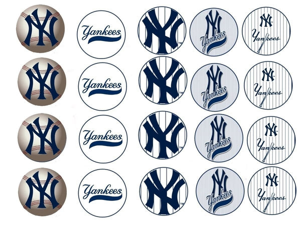 New York Yankees Logo Baseball American League Edible Cupcake Topper Images ABPID03340