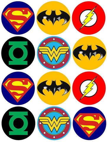 DC Comics Logo Superman Batman the Flash Wonder Woman Green Lantern Edible Cupcake Topper Images ABPID03442