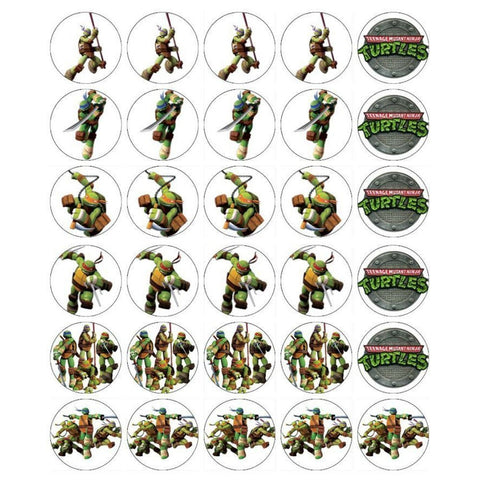Ninja Turtles Logo Donatello Michaelangelo Raphael Leonardo Edible Cupcake Topper Images ABPID03546