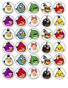 Angry Birds Red Pink The Blues Chuck Bomb Matilda Hal Stella Purple Bird  Edible Cupcake Toppers ABPID03640
